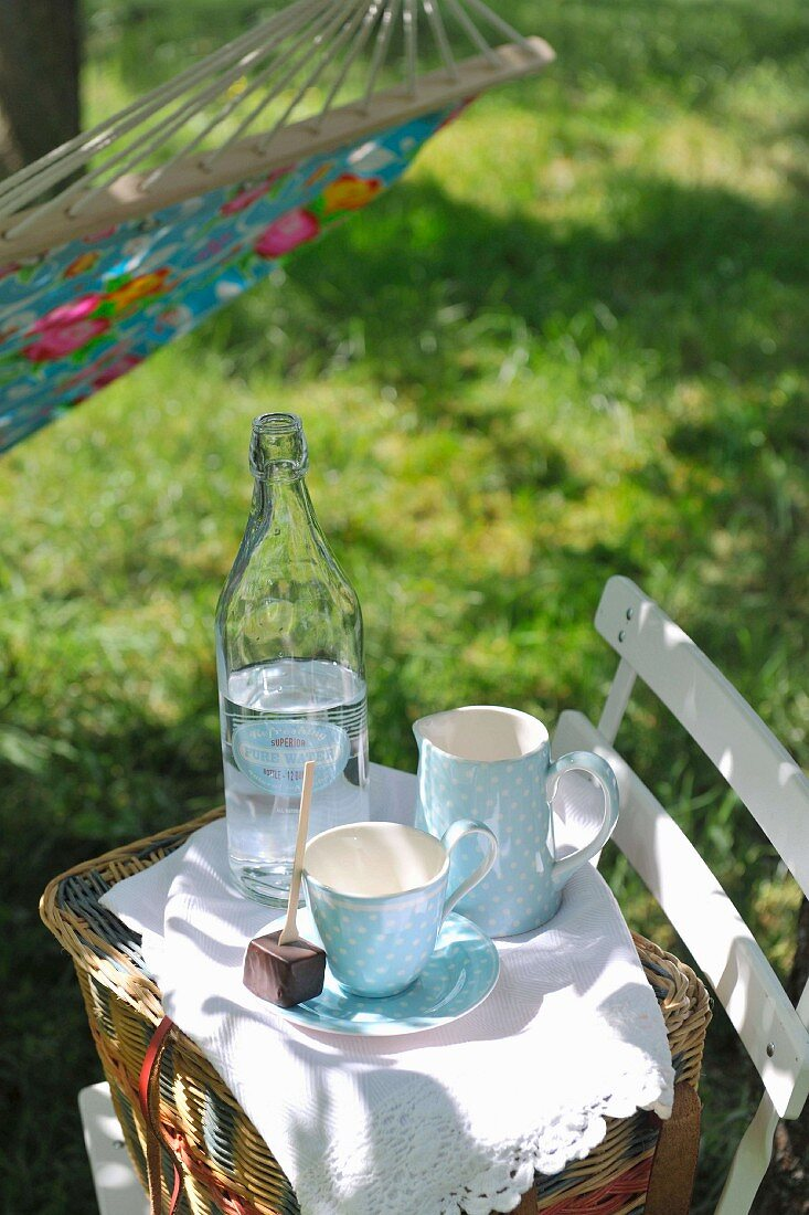 Crockery placed on picnic basket on garden chair