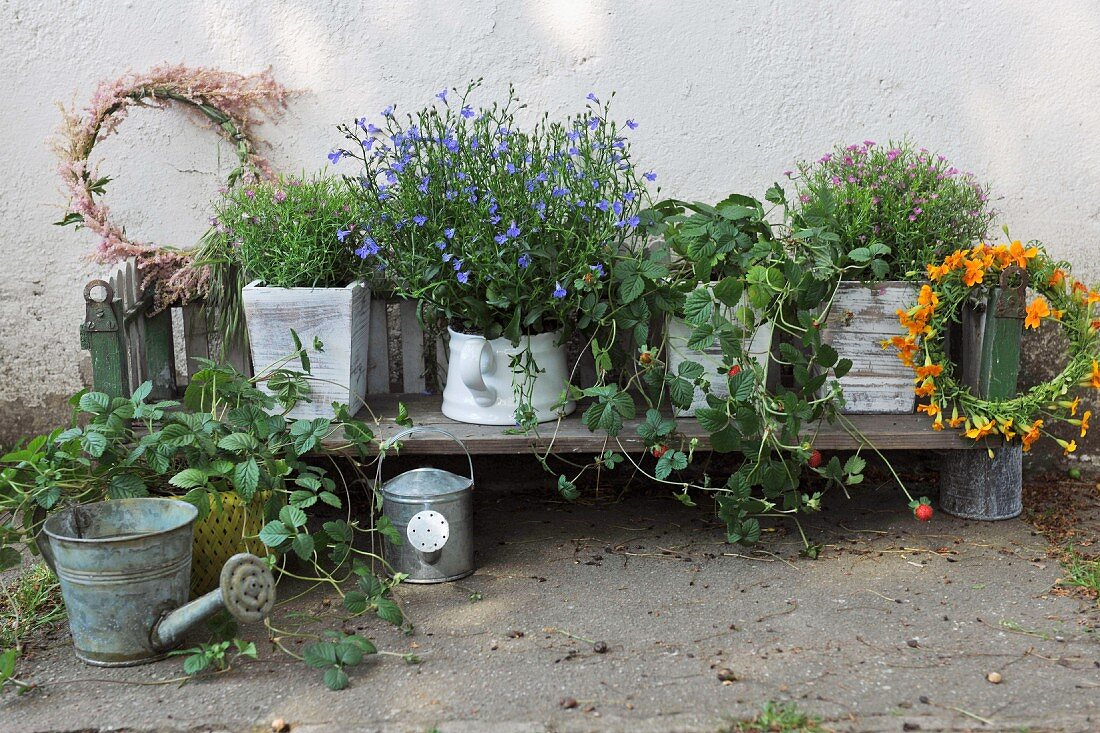 Flower pots and floral wreaths