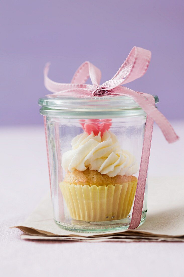 Cupcake in a jar with a bow
