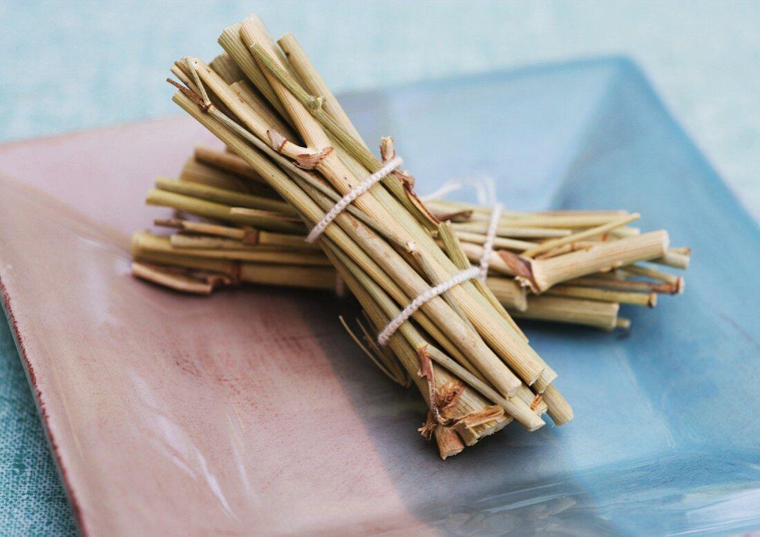 Bundles of dried wild fennel