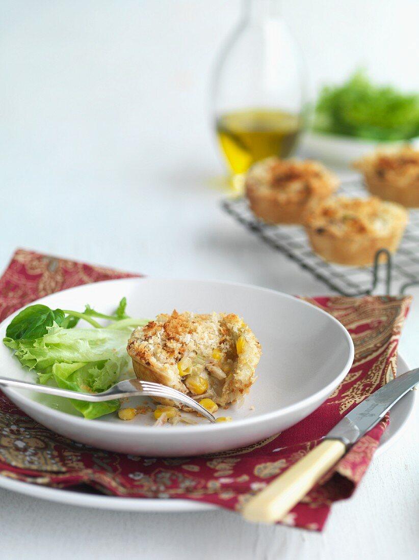 Mini cheese and corn muffins