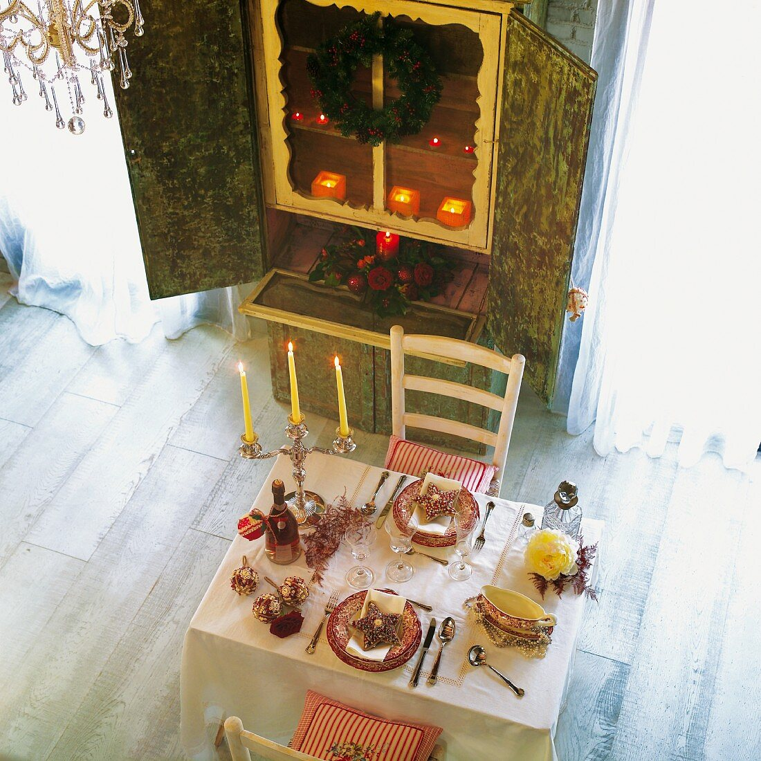 Laid table with Christmas decorations