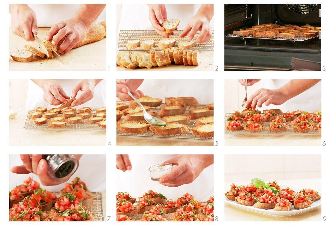 Bruschetta zubereiten: Brotscheiben rösten und Tomaten darauf verteilen