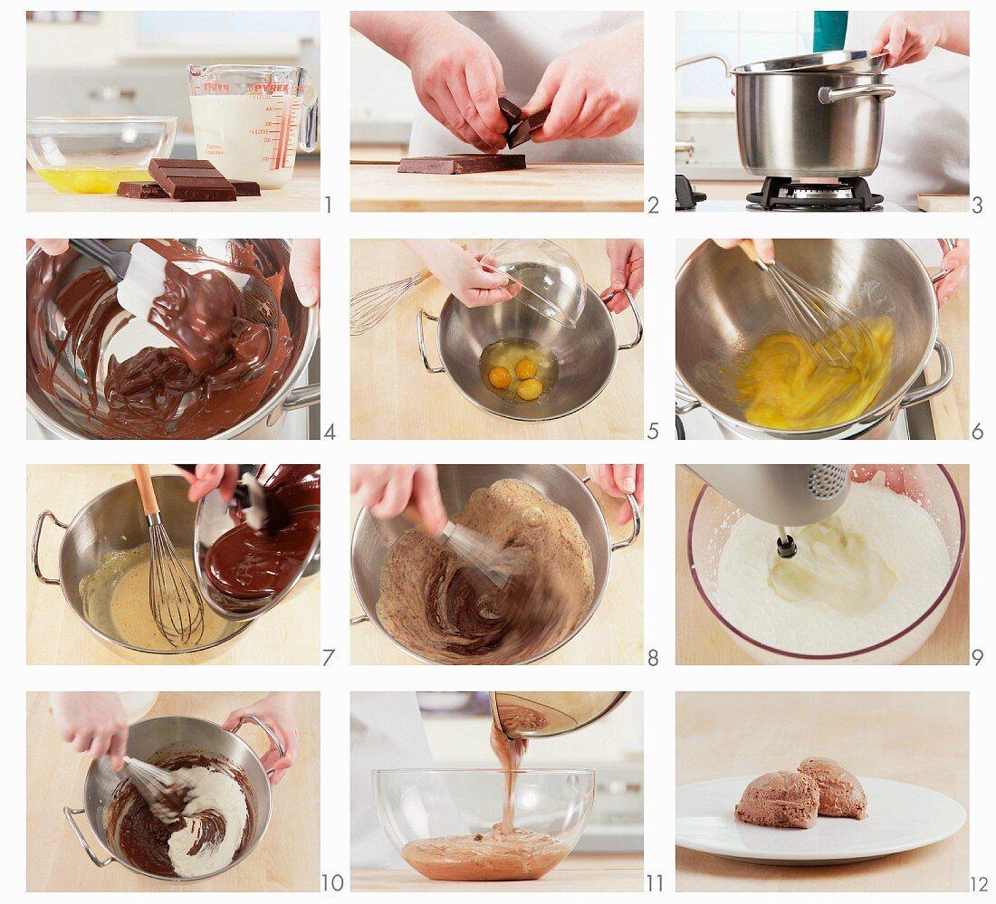 Mousse au chocolat being prepared