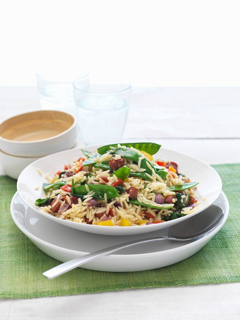 Orzo salad with mange tout