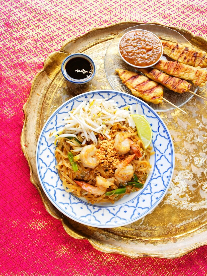 Shrimp Pad Thai with Chicken Satay and Dipping Sauce