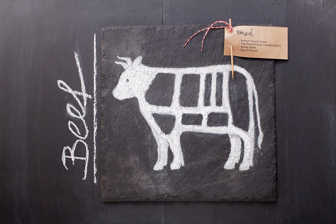 A sketch of a cow depicting cuts of meat with a label and the word 'Beef' drawn on a chalkboard