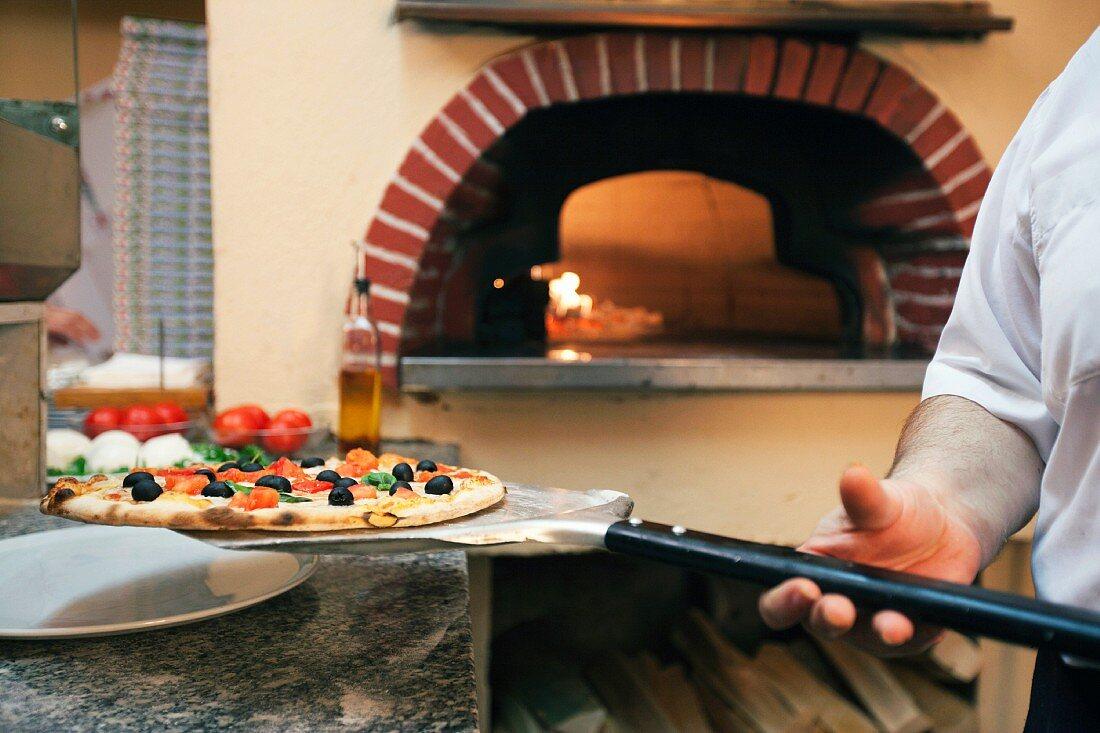Chef holding pizza on spatula