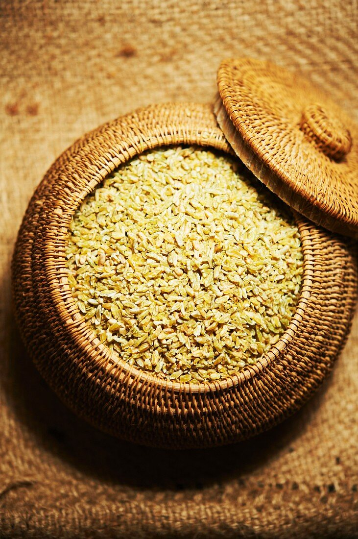 Freekeh; Roasted Baby Wheat Grains; In a Basket