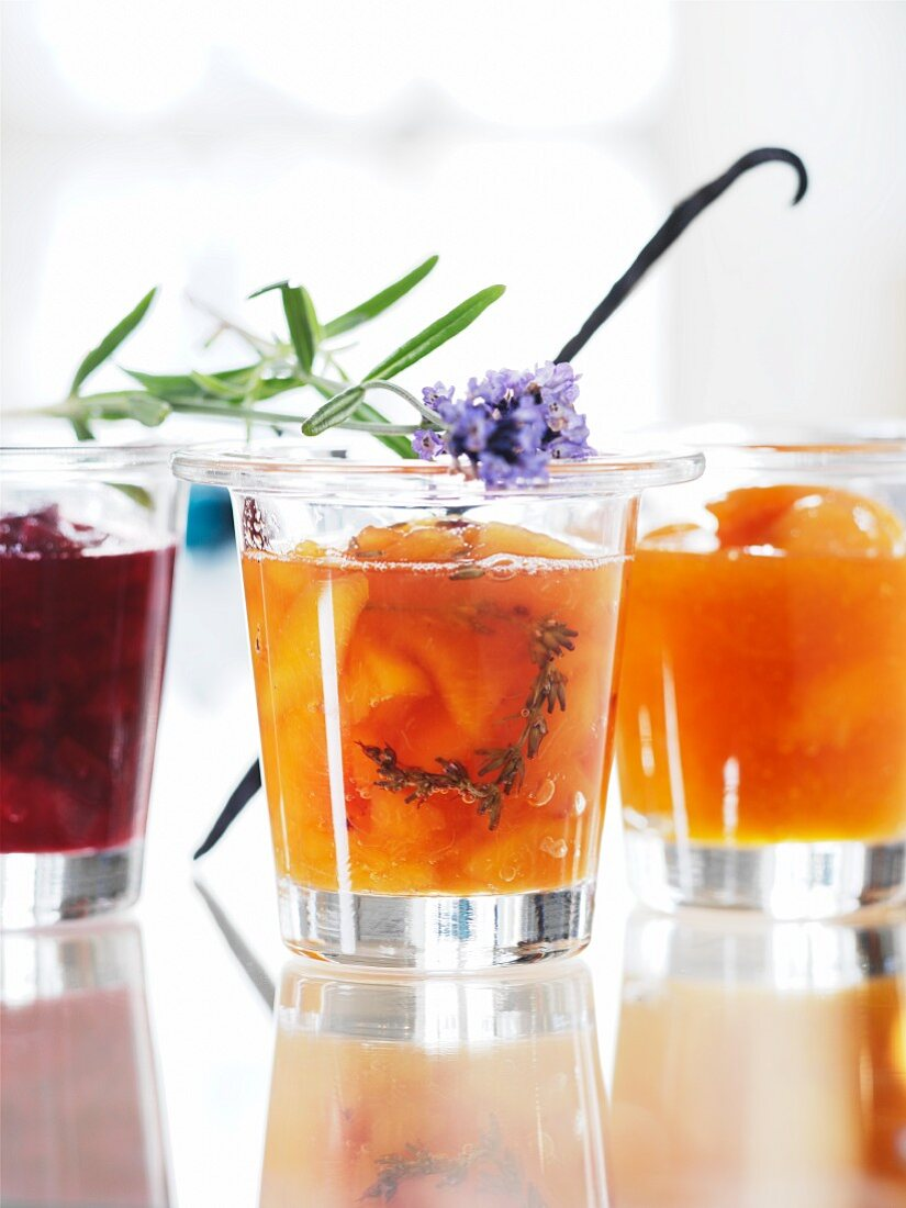 Three different types of jam in glasses