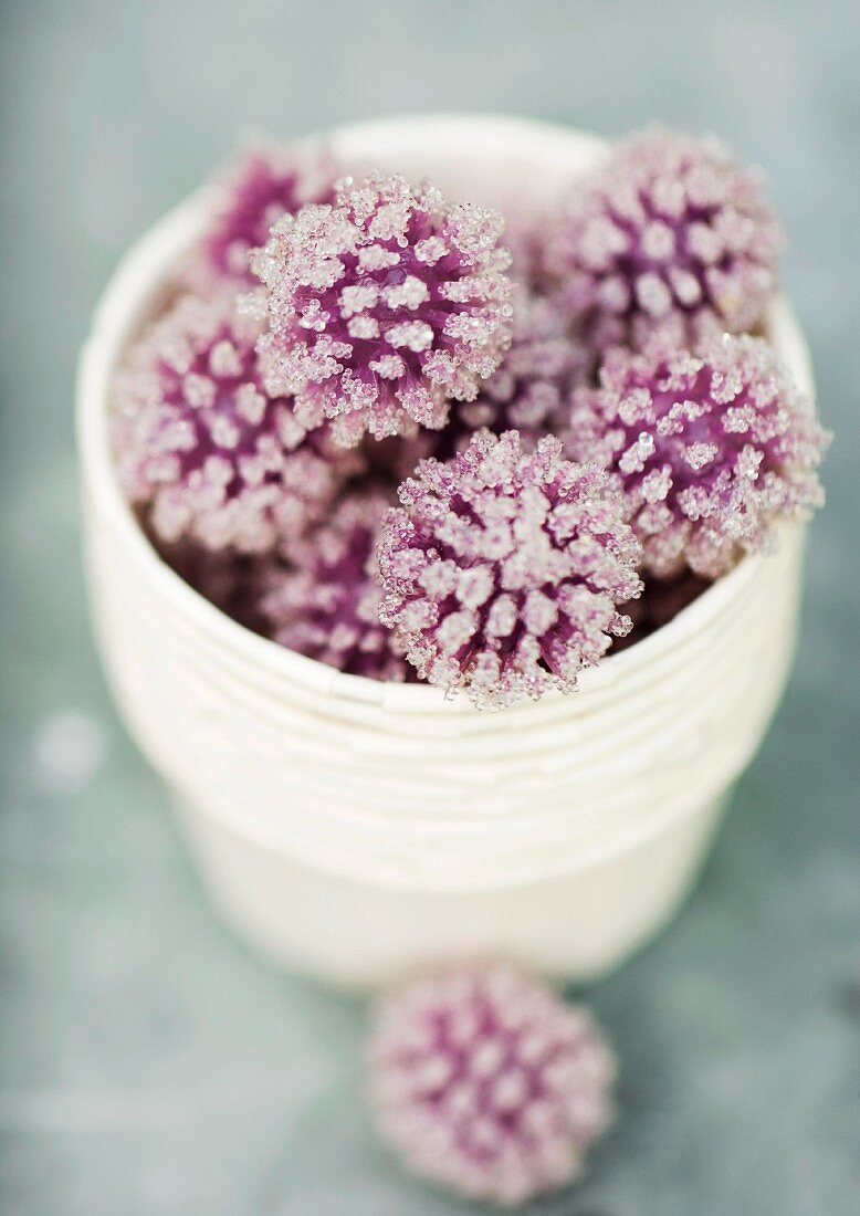 Crystallized flowers, high angle view