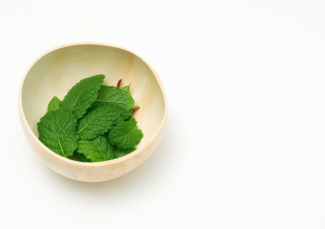 Mint leaves in calabash gourd bowl