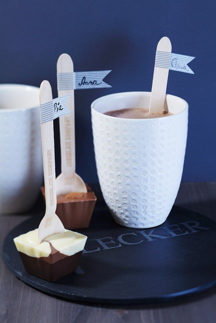 Chocolate spoons with labels