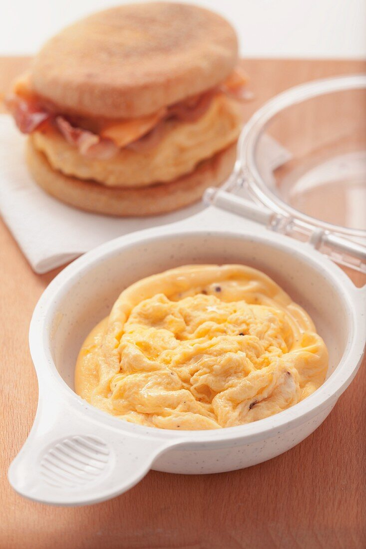 Scrambled eggs and an English muffin