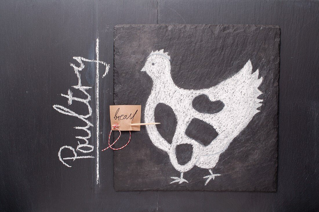 A sketch of a chicken and an English label on a chalkboard