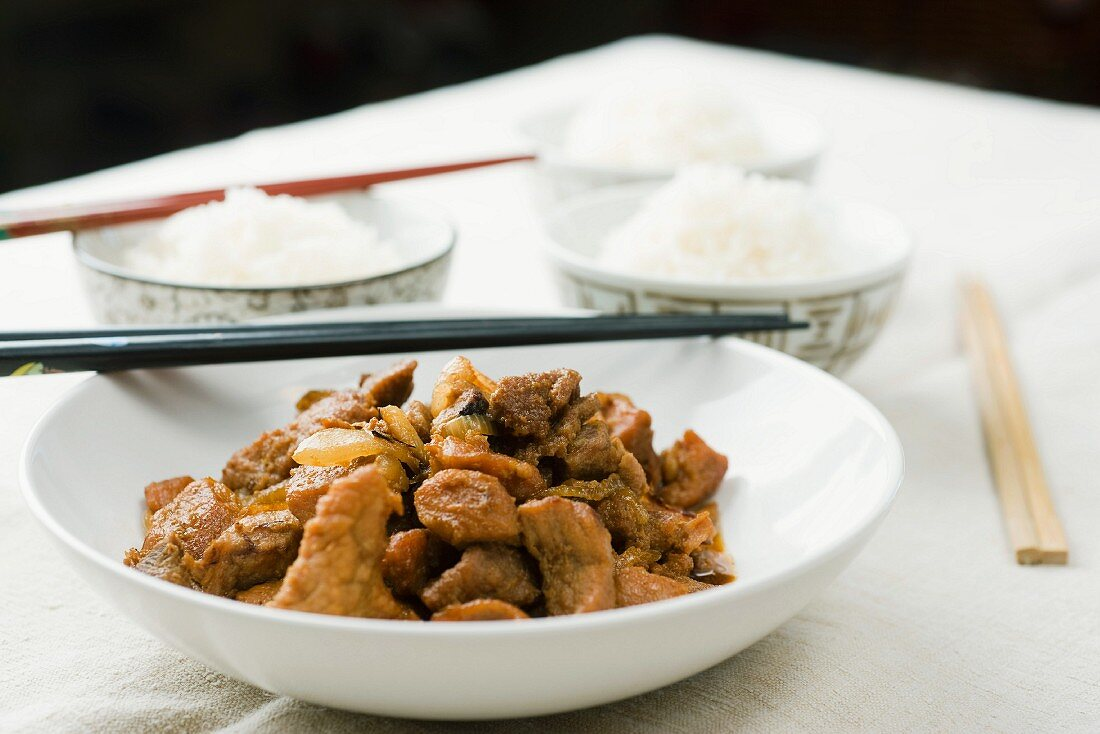 Caramelised pork (Thit Kho To) with a side of rice