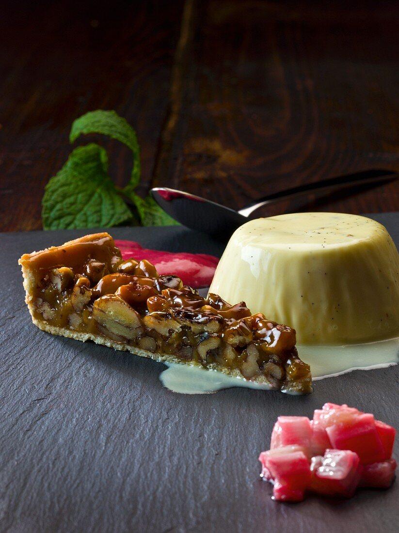 Dessert platter with yogurt panna cotta, nut cake and rhubarb cream