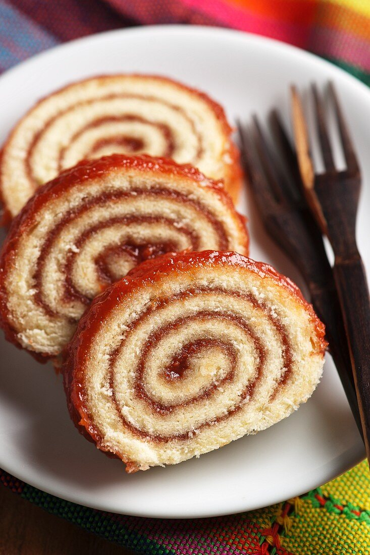 Guava rocambole (sponge roll cake with guava jam, Brazil)
