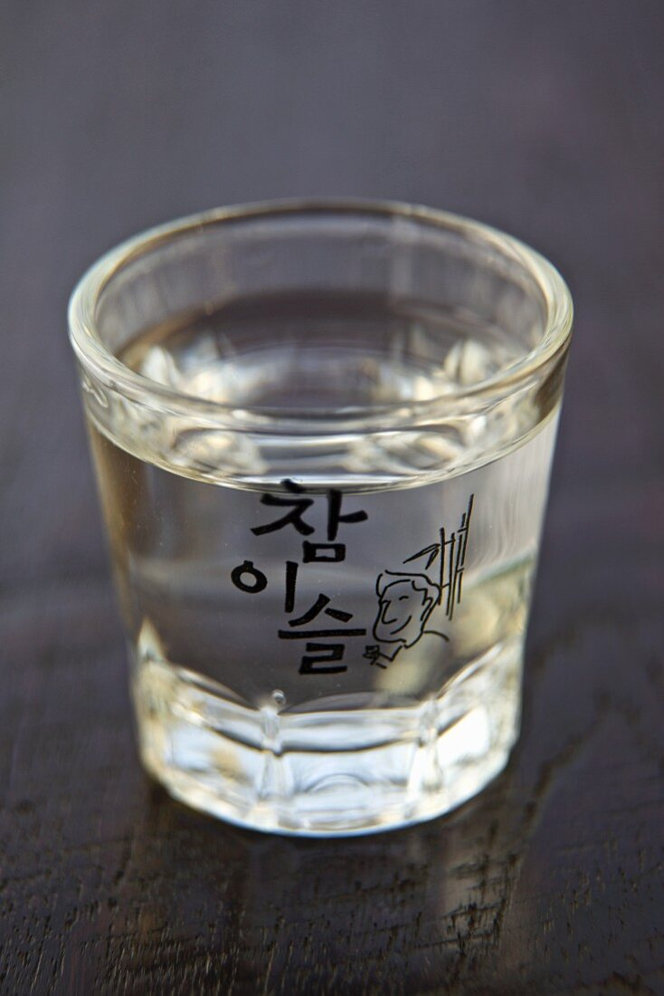 Small Glass of Soju; One of the Most Popular Alcoholic Beverages in South Korea