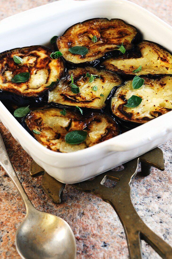 Marinated aubergine slices with oregano