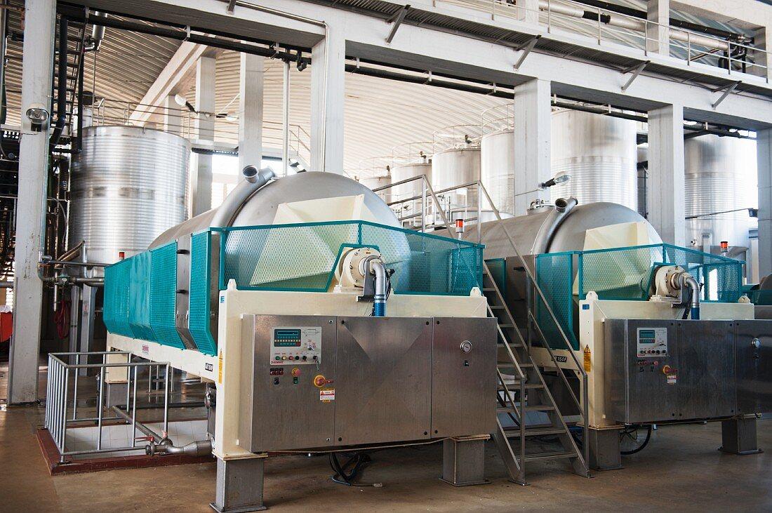 Modern horizontal presses, Carmim winery (Portugal)