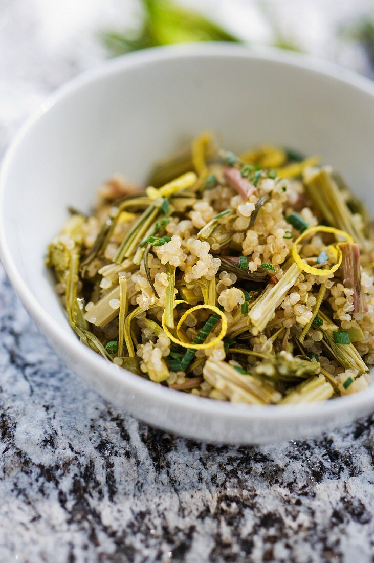Willowherb salad with quinoa