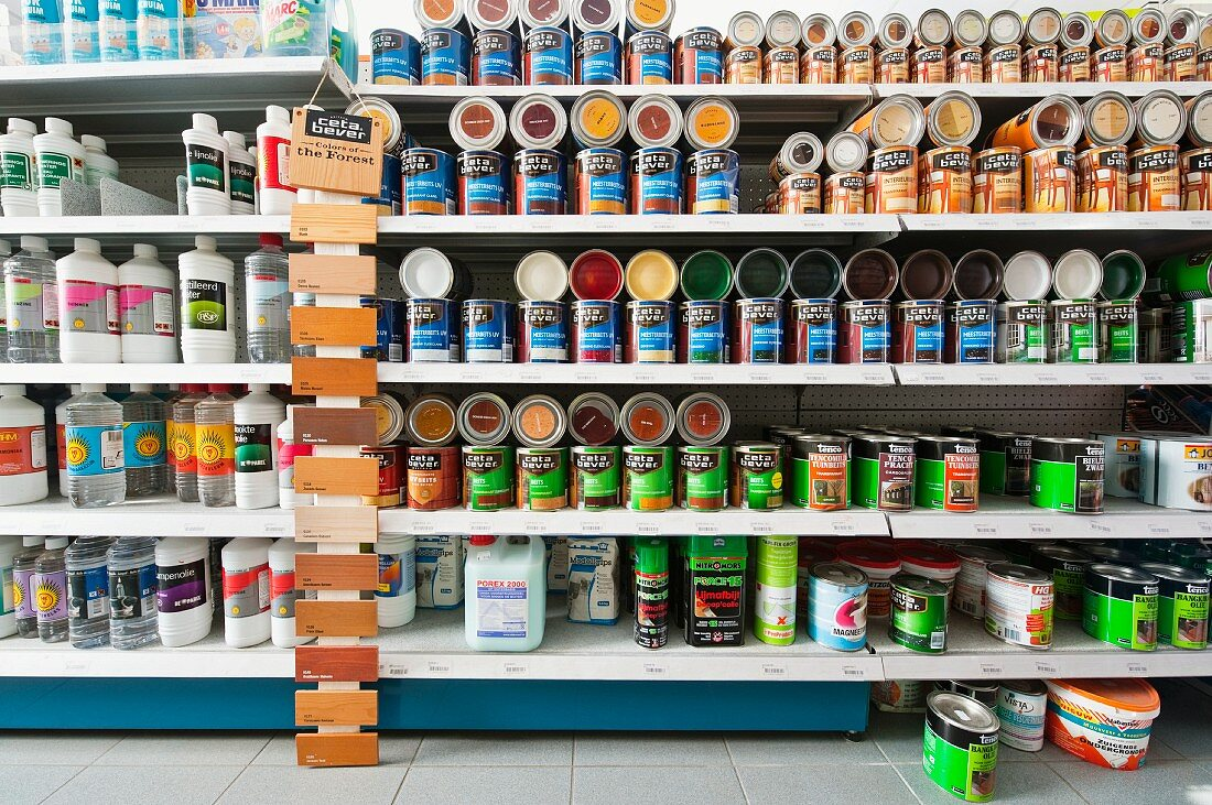 A shelf of paint tins in a DIY store