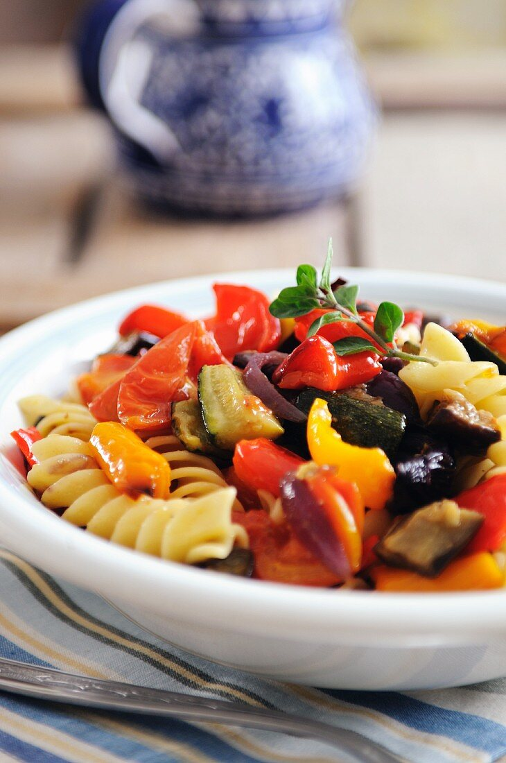 Fusili pasta with roasted Mediterranean vegetables, courgettes, aubergine and sweet peppers
