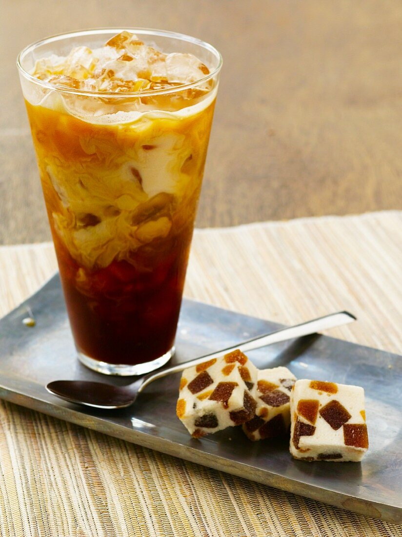 Glass of Iced Coffee with Vanilla Nut Nougat