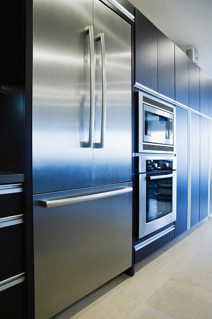 Stainless steel refrigerator oven and microwave
