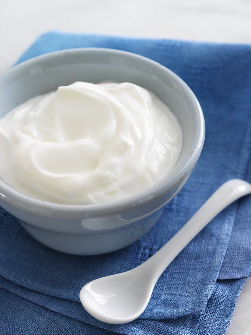 Bowl of Plain Greek Yogurt with a Ceramic Spoon