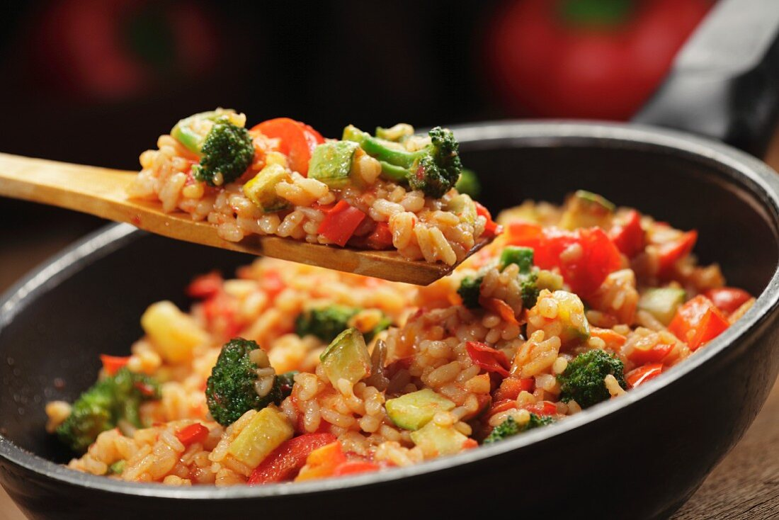 Vegetable risotto in a pan