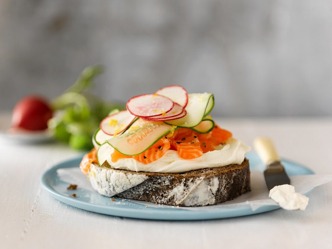 Open Face Smoked Salmon, Cream Cheese, Cucumber and Radish Sandwich