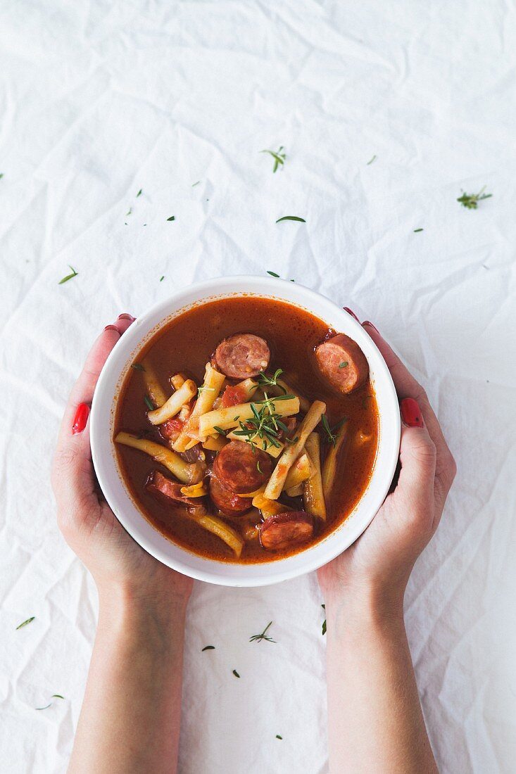 Bean soup with yellow beans and sausage
