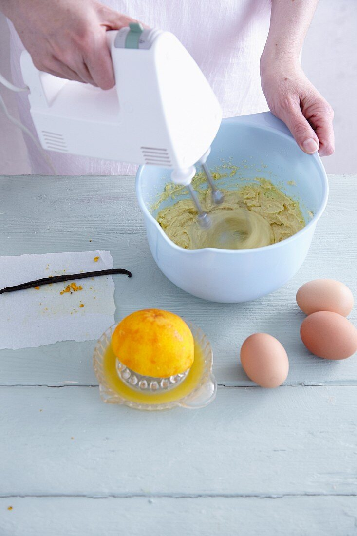 Ingredients for gluten-free cake mixture being mixed together