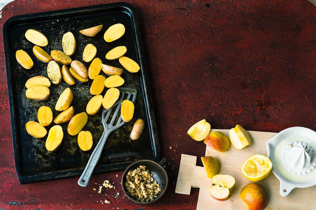 Potatoes on a baking tray