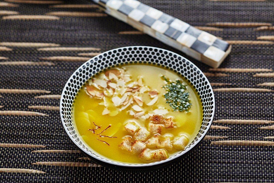 Saffron and almond soup