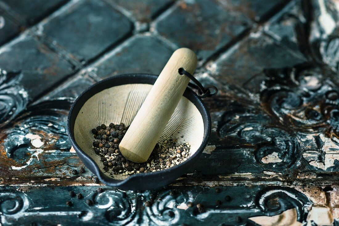 Spices in an oriental mortar