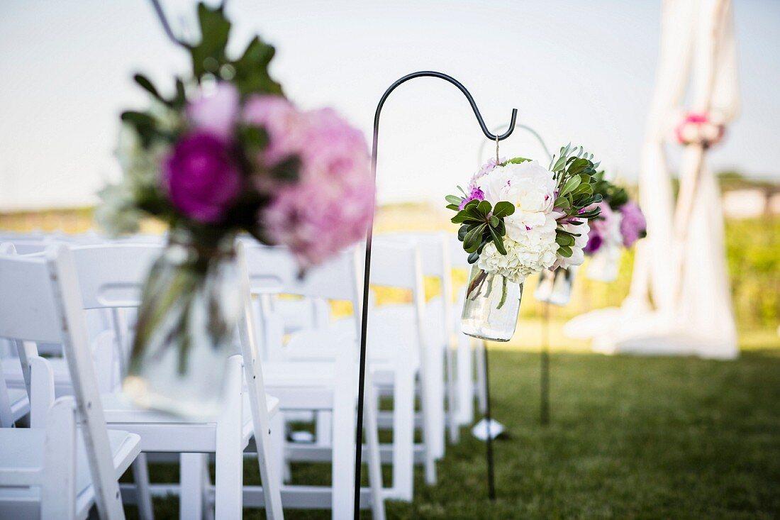 Flower arrangements for a wedding ceremony