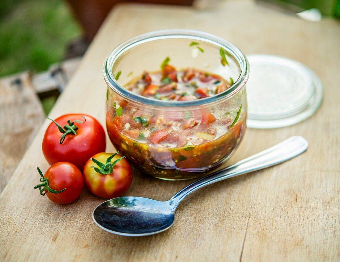 Tomato salsa in a glass
