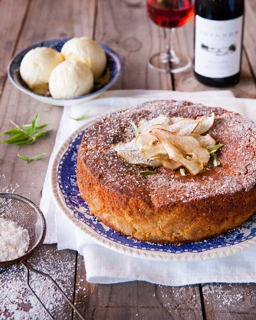 Pear and cinnamon cake with ginger and lemon verbena ice cream