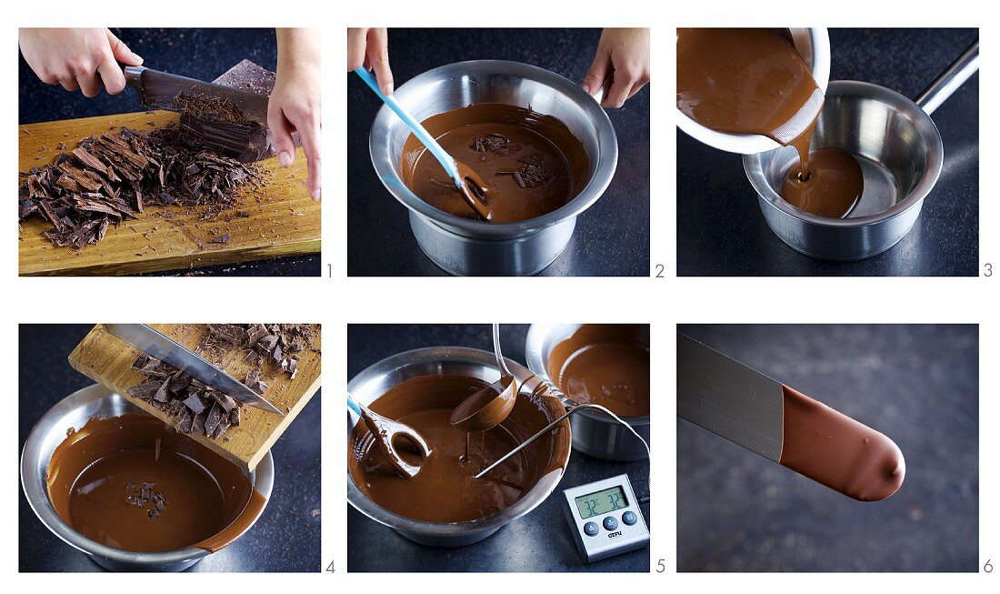 Cooking chocolate being tempered