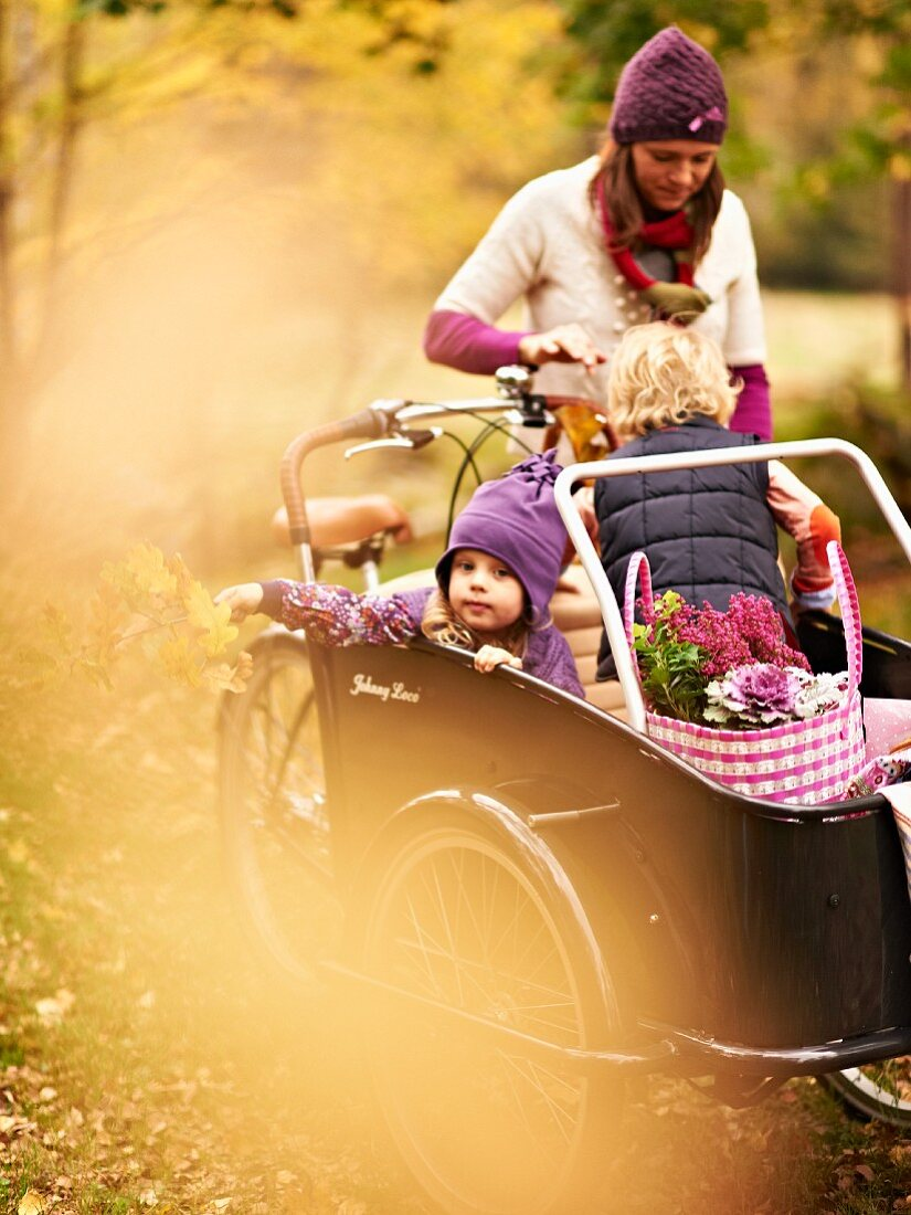 Mother pushing children and picnic baskets in box of cargo bike through autumn landscape