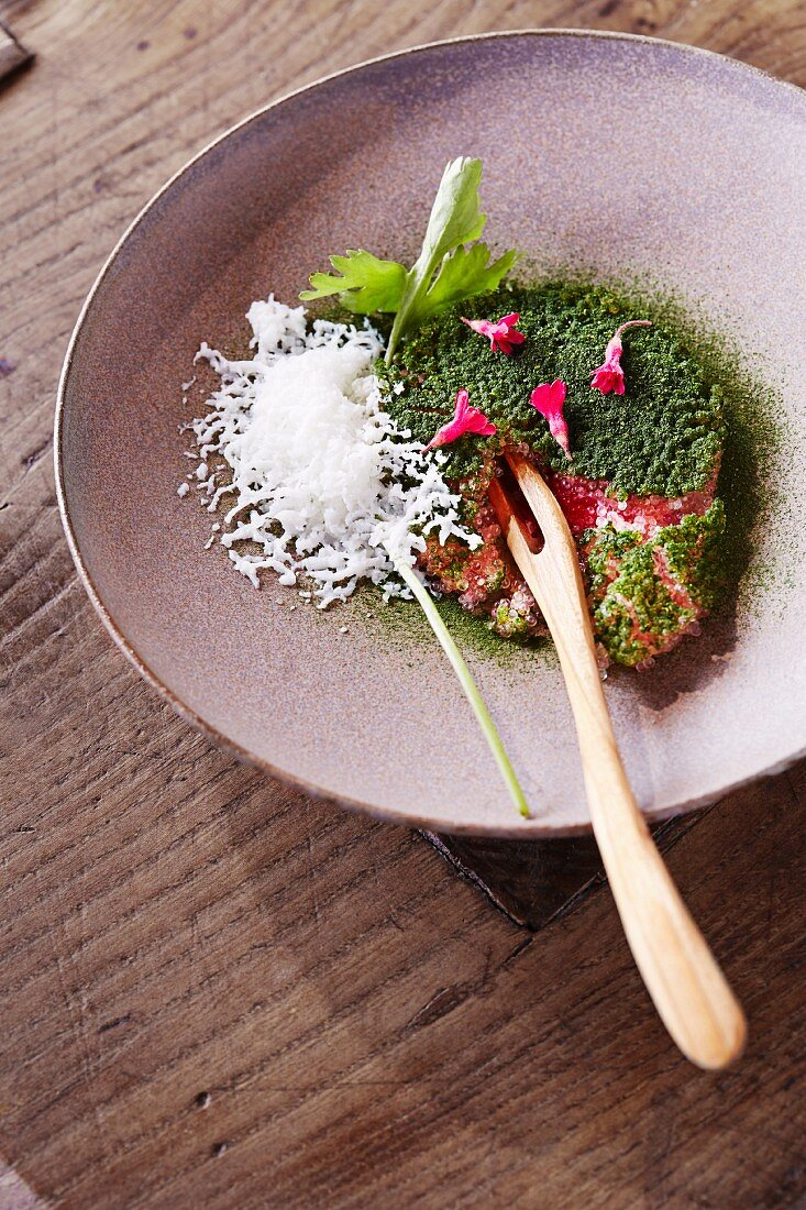 Swedish Wagyu beef with lumpfish roe and iced buttermilk at the restaurant Oaxen Krog run by Magnus Ek, Stockholm