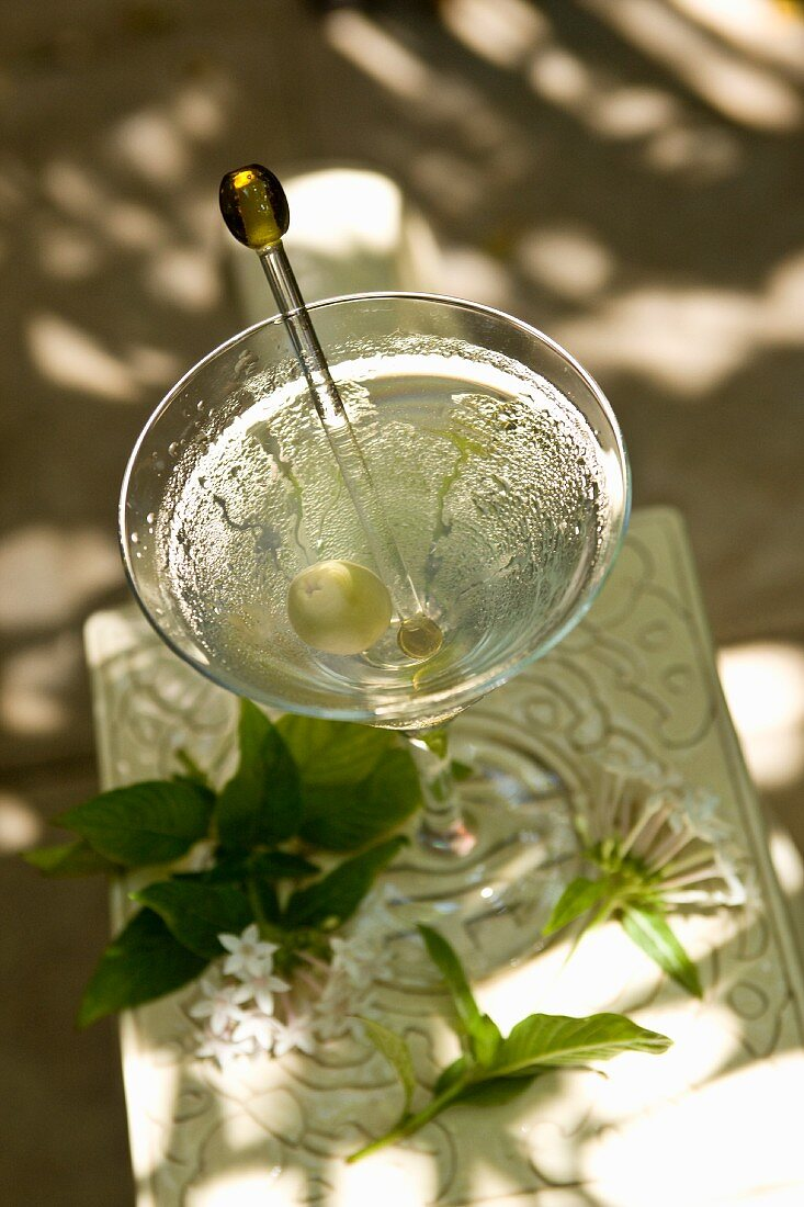 Gin martini with an olive