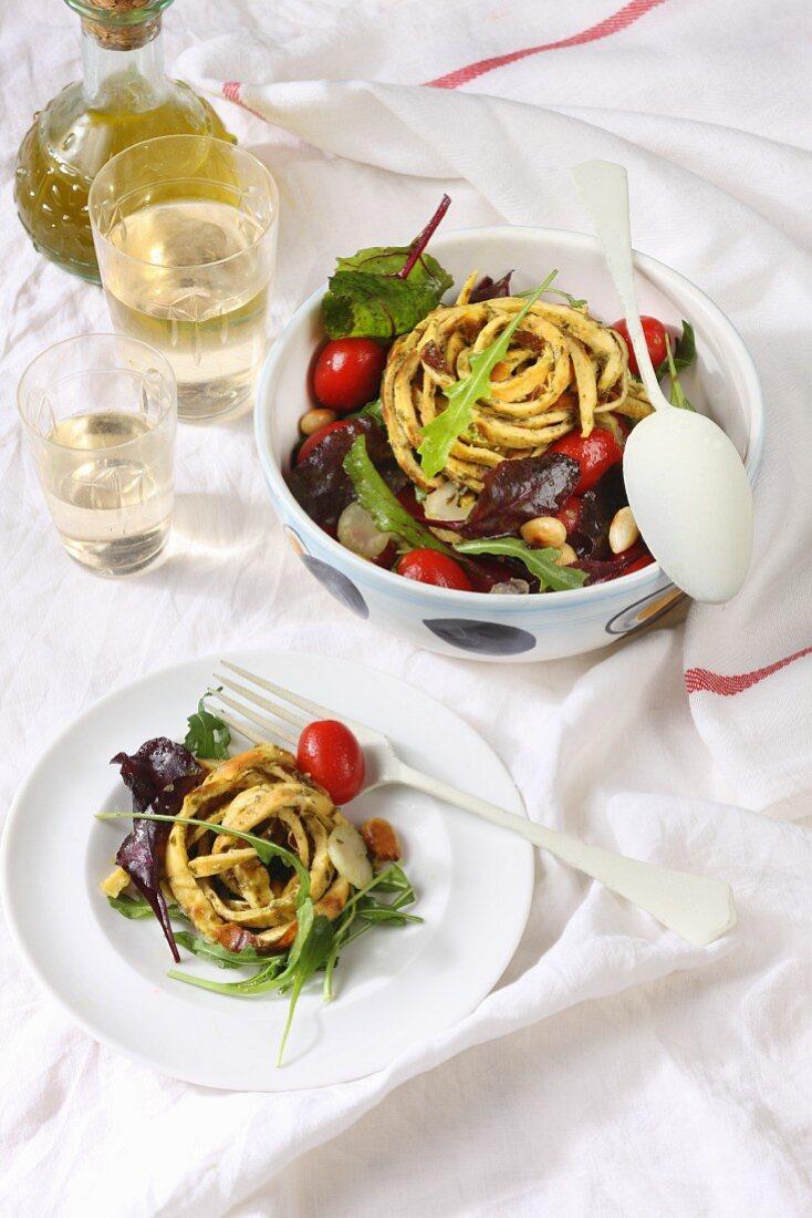 Salad with herb omelette noodles