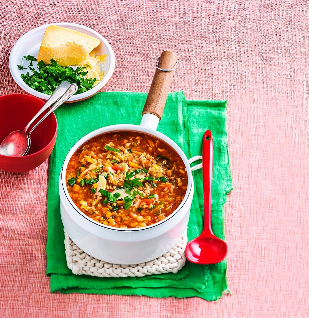 Rice and lentil minestrone