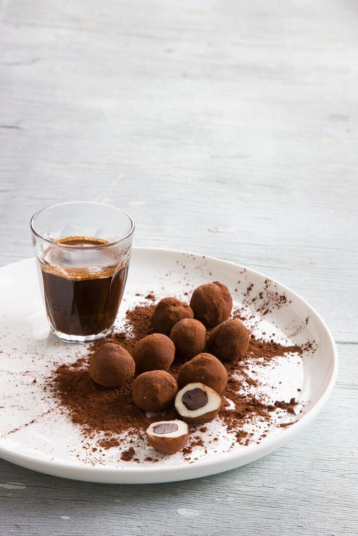 Marzipan truffles and an espresso