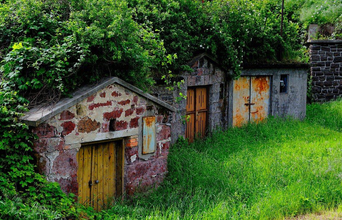 Old wine cellars in the cellar lane in Abasar, Hungary