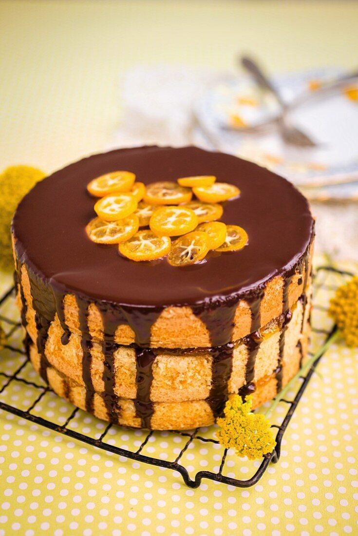 Chocolate-orange layer cake with marmalade and chocolate glaze